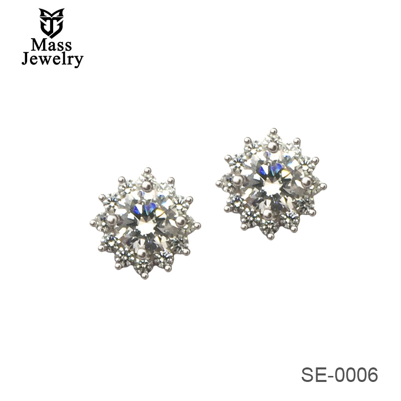 Christmas Gift CZ Snowflake Earring 925 Sterling Silver Earrings Jewelry For Women Wholesale