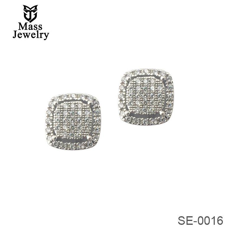 Iced Out Stud Square Hip Hop Bling AAA CZ Mens Micro Pave Silver Earrings