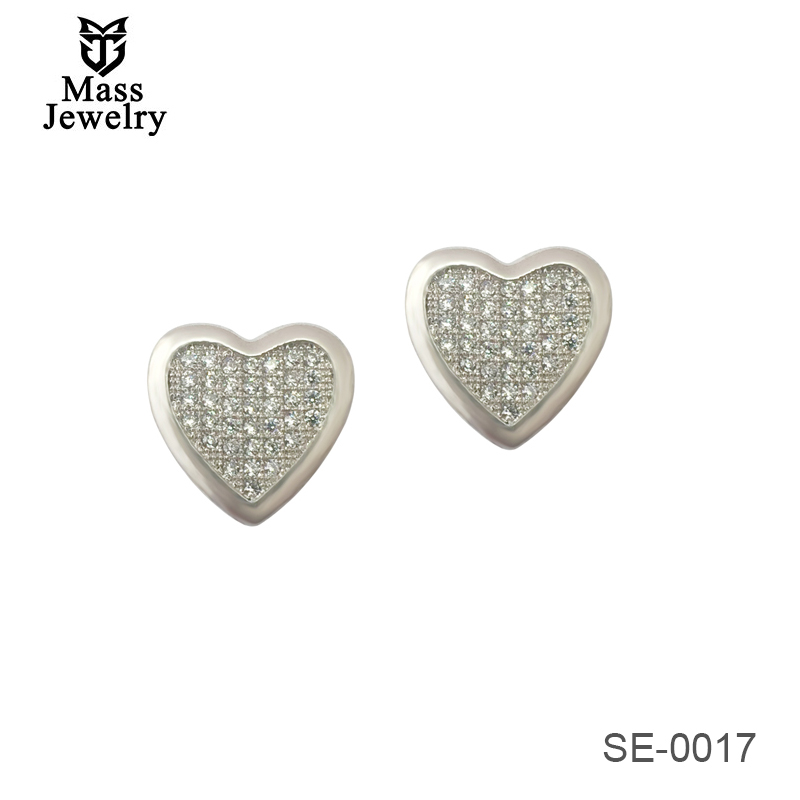 Fashion 100% 925 Sterling Silver Earrings For Girl Heart Shaped Zircon Stud Earrings