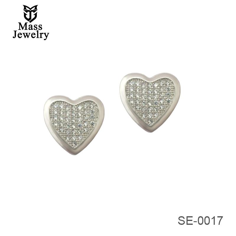 Fashion 100% 925 Sterling Silver Earrings For Girl Heart Shaped Zircon Stud Earrings