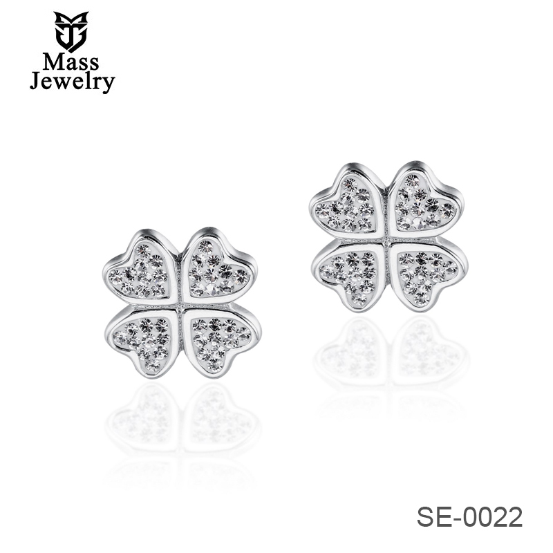 Hot Sale 925 Sterling Silver Designed Four Leaf Earrings For Lady