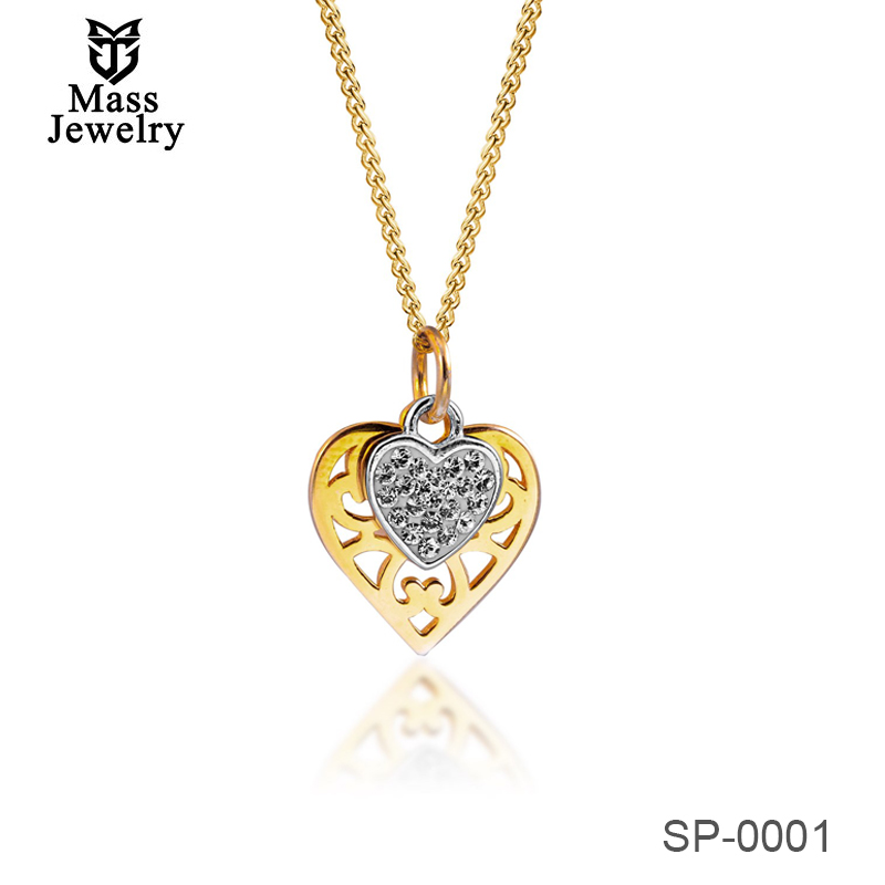 Real Silver 925 Two Tone Heart Pendant Necklace With Crystal From Swarovski