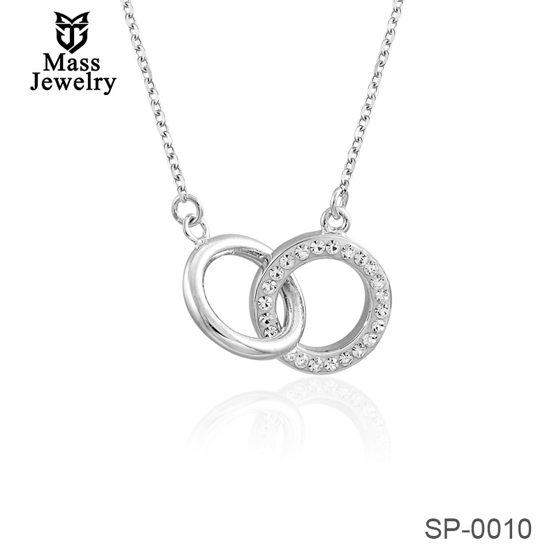 Wholesale 925 Sterling Silver AAA Crystal Elements Circle Hoop Unisex Necklace Pendant