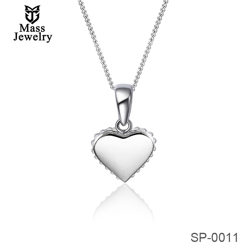 Sterling Silver  Jewellery Crystal Heart Pendant With Element Sparkling Crystal