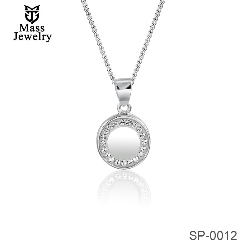 Round Shape Pendant Silver Necklace In Rhodium With  Crystal