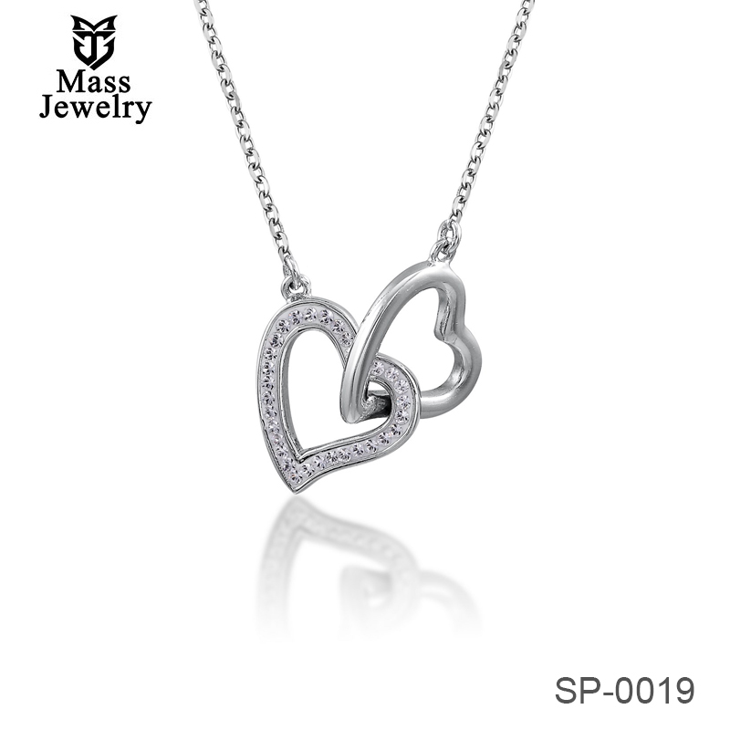 Double Heart Connector Women Necklace Heart Pendant With Crystals From Swarovski Gift For Lover
