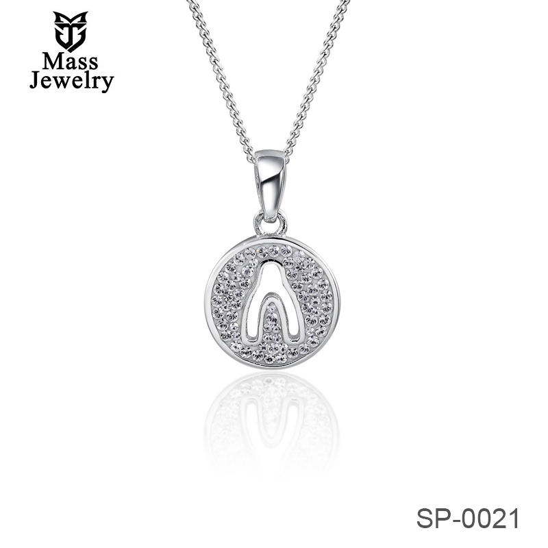 925 Sterling Silver Platinum Plate Colorful Man-Made Crystal  Pendant For Anniversary