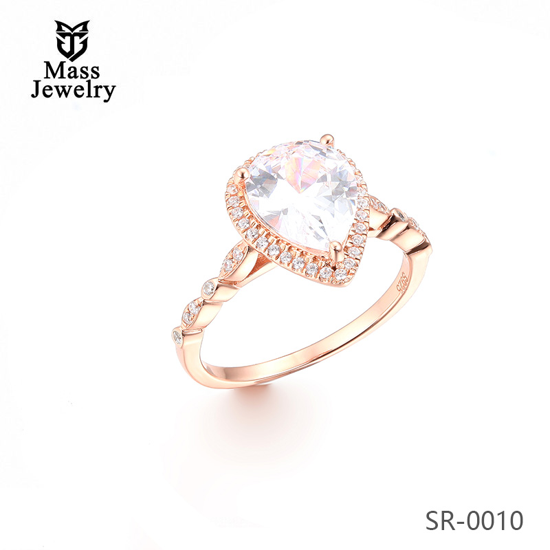 New Design Wholesale Jewelry 925 Sterling Womens Silver Rings Rose Gold Plated