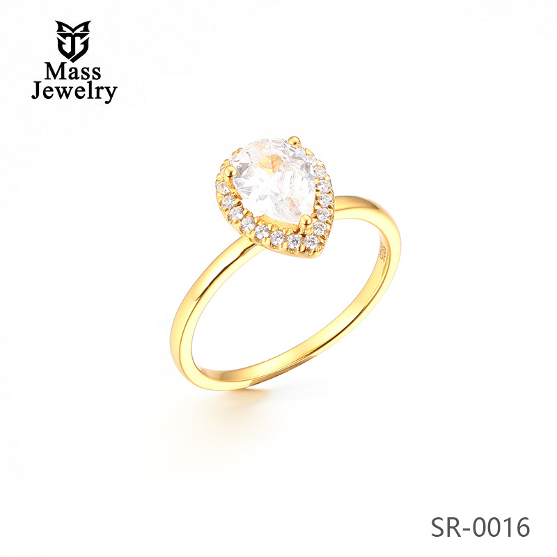 Fashion Jewelry White Rhodium Plated 925 Sterling Silver Ring CZ Ring