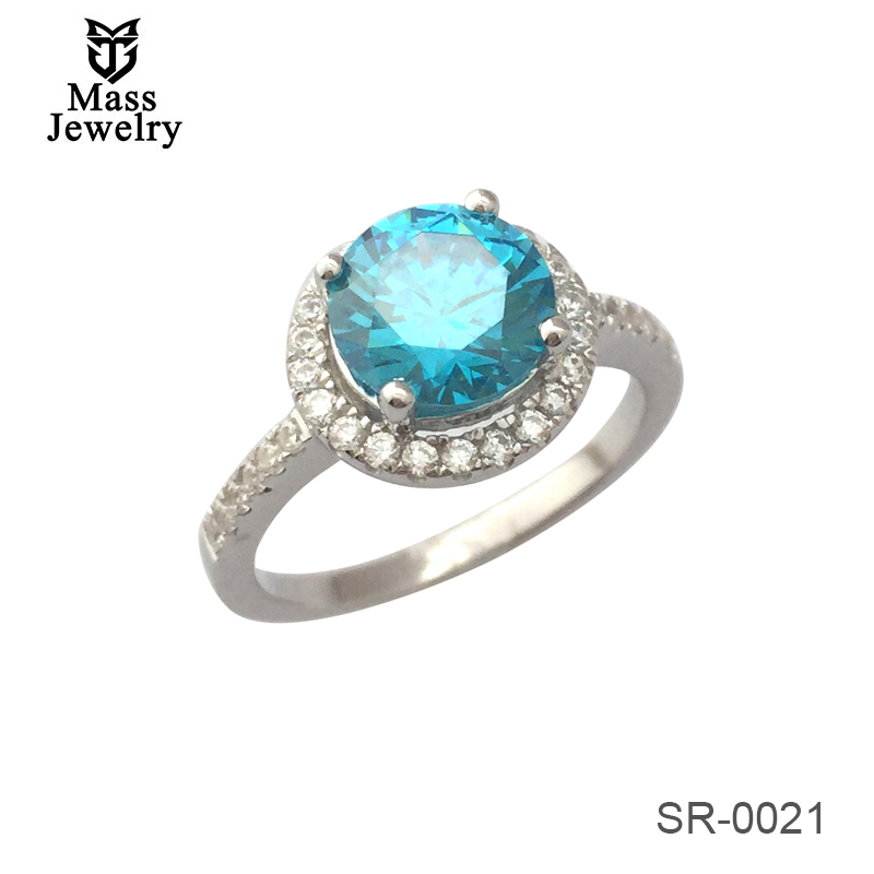 Plated Silver Jewelry Solitaire Ring Green Blue Purple Color Stone Sterling 925 Silver Ring