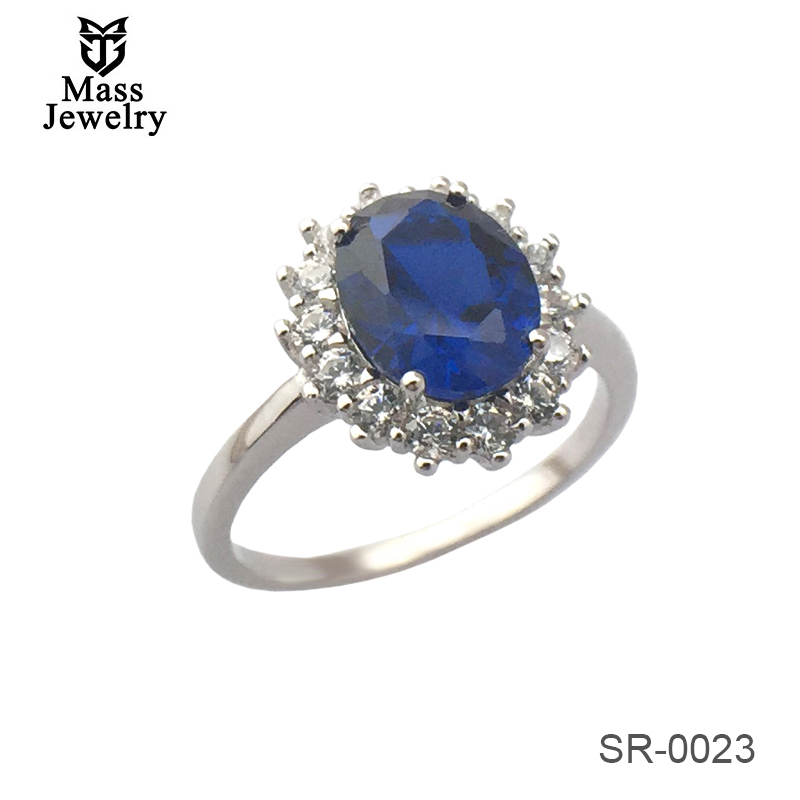 Factory Wholesale Custom Luxury Women'S Engagement Anniversary Blue Sapphire Sterling Silver Ring