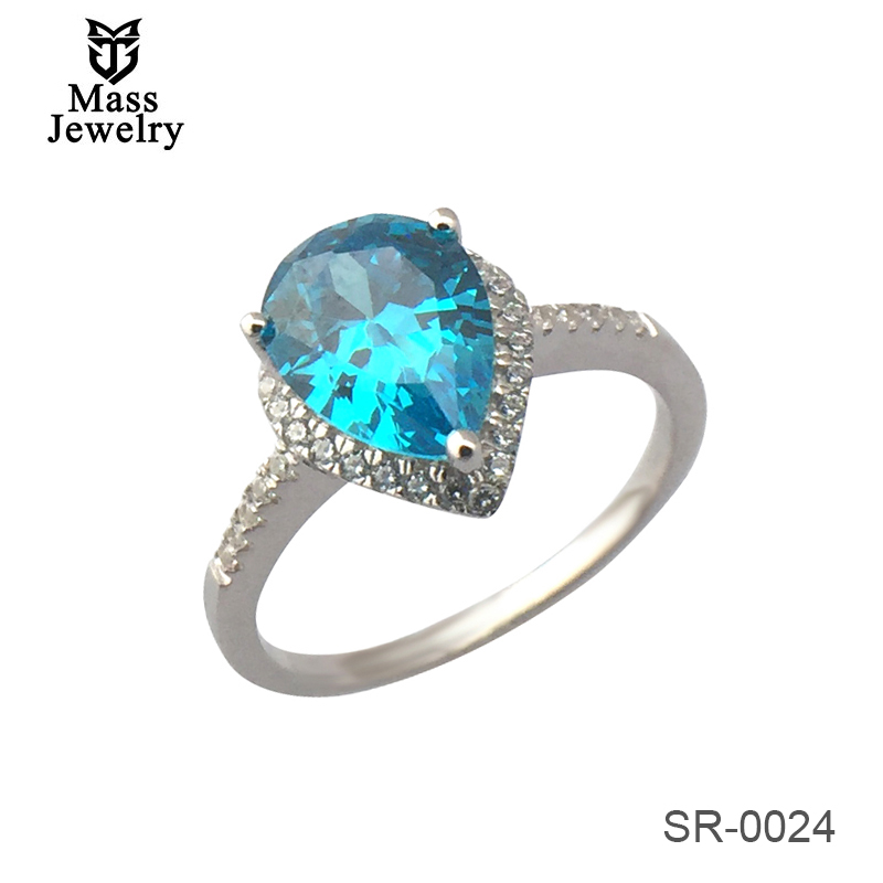 Fashion Silver Ring With Big Colored Stone For Party