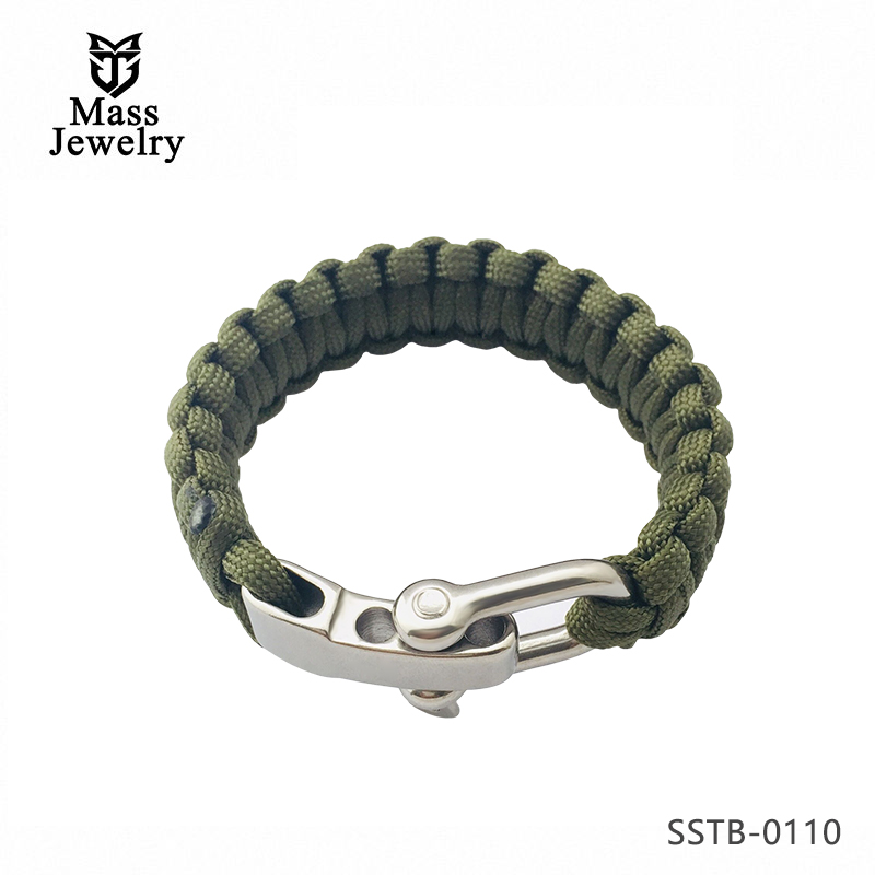 Extra Beefy Survival Bracelet with Stainless Steel  Bow Shackle, Available in 3 Adjustable Sizes