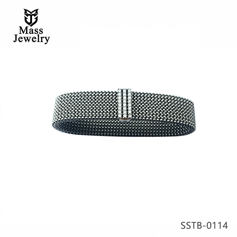 925 Silver inlaid zircon stainless steel elastic bracelet silver bracelet men and women bracelet