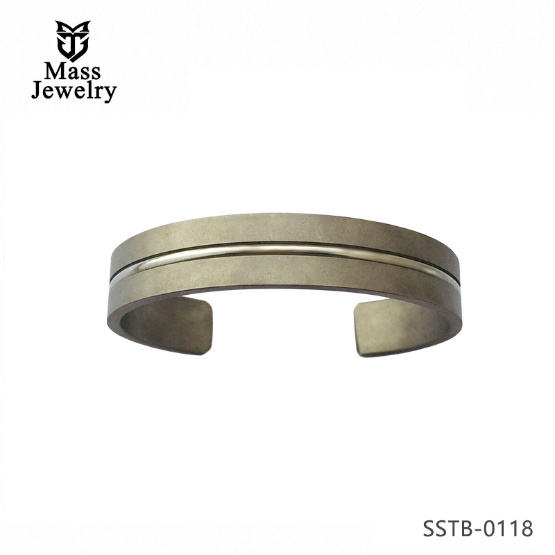 Personalized Custom Sandblasting Titanium Matte Cuff Bangle for Men Women