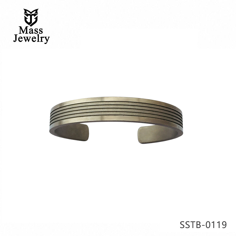 Personalized Custom Sandblasting Slotting Titanium Matte Cuff Bangle for Men Women