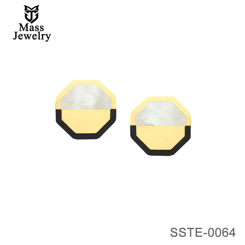 Octagonal Surgical Steel Stud Earrings-Mass Jewelry