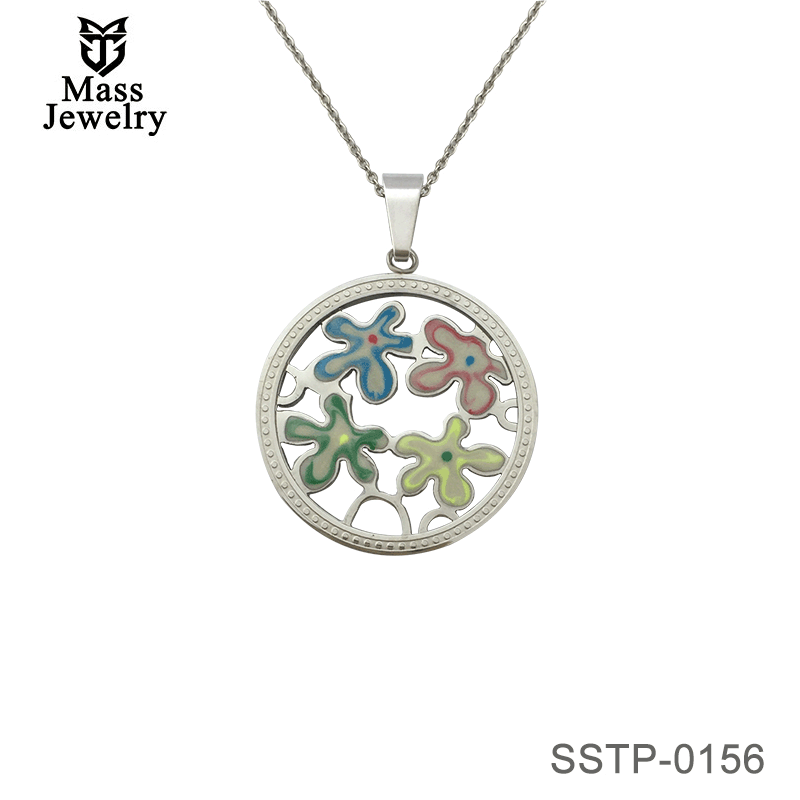 Round Stainless Steel Pendant With Enamle Flower In The Middle