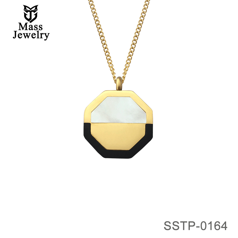 Octagonal Stainless Steel Pendant With Shell And Black Agate