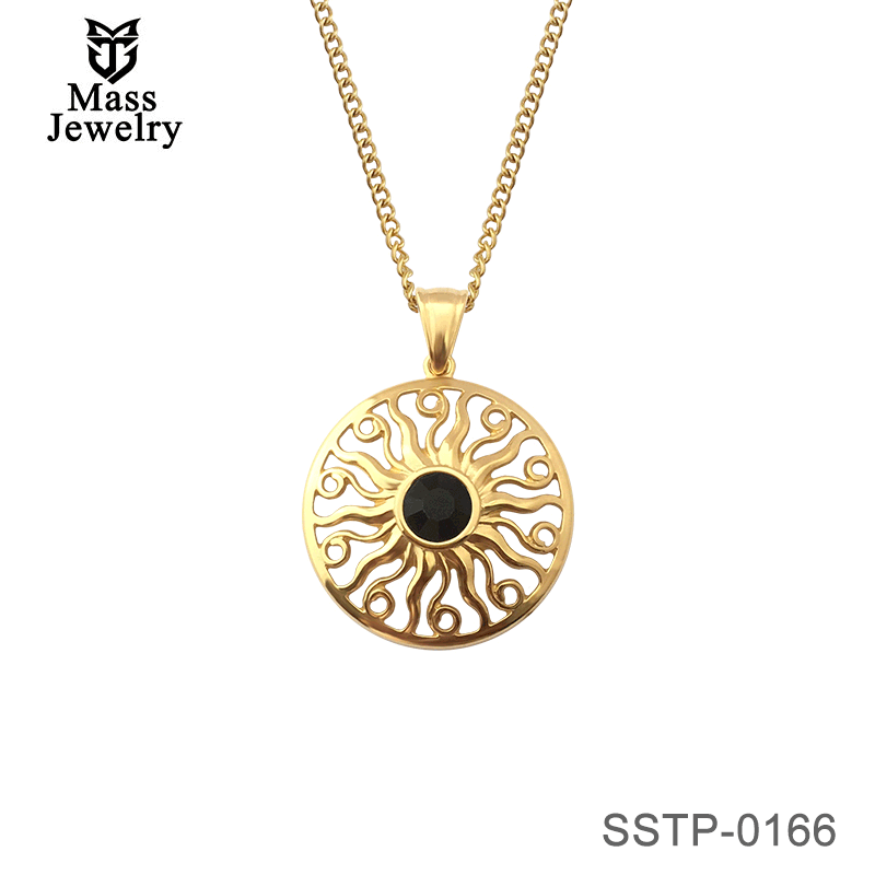 Men Retro Gold Plated Jewelry Stainless Steel Round Black Rhinestone Centered Sun Pendant Necklace