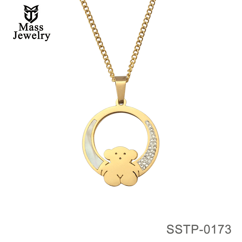 Stainless Steel 18K Gold Plated Cute Bear Design Women Jewelry Graduation Gifts
