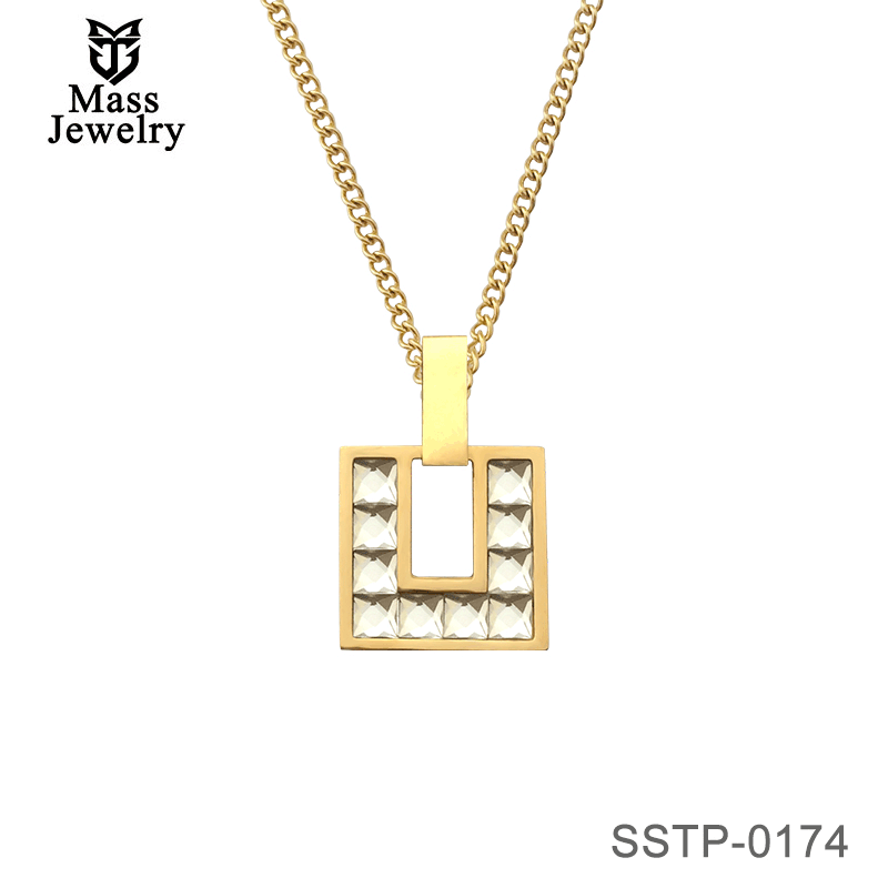 Square Stainless Steel Pendant Crystal Rhinestone Fashion Necklace Gold Pleted Jewelry