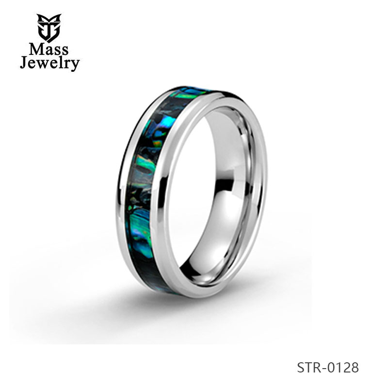 Fashion Jewelry Stainless Steel Wedding Ring Abalone Shell Inlay