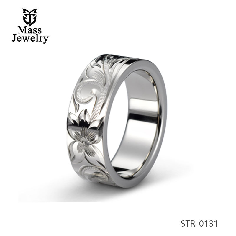Men Stainless Steel Ring Jewelry Wood Inlay Ring