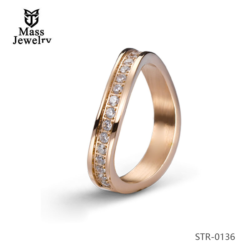 18K Gold Plated Stainless Steel Wedding Ring Jewelry With Channel Set Cz Finger Ring For Couple