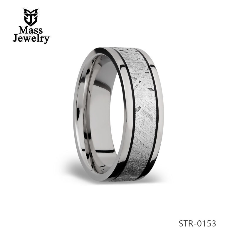 Latest Design Inlayed Stainless Steel Rings Fashion Unique Men'S  Meteorolite Rings Cheap Jewelry