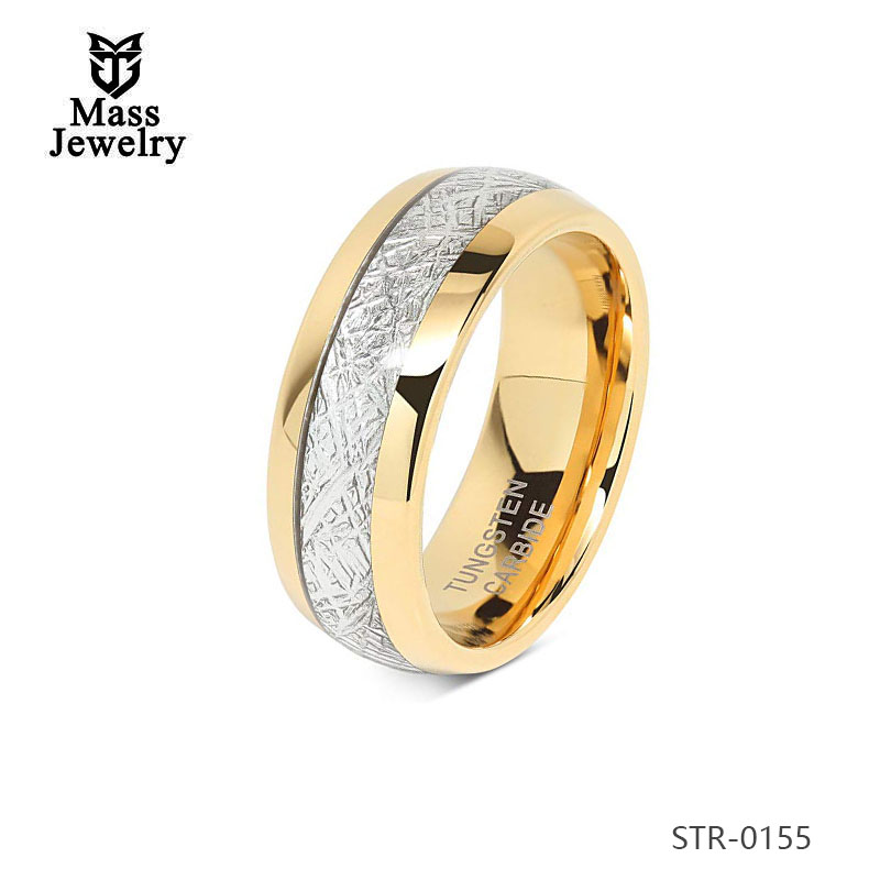 Simple Ring Designs Wholesale Stainless Steel Wedding Imitation Meteorolite Rings Jewelry