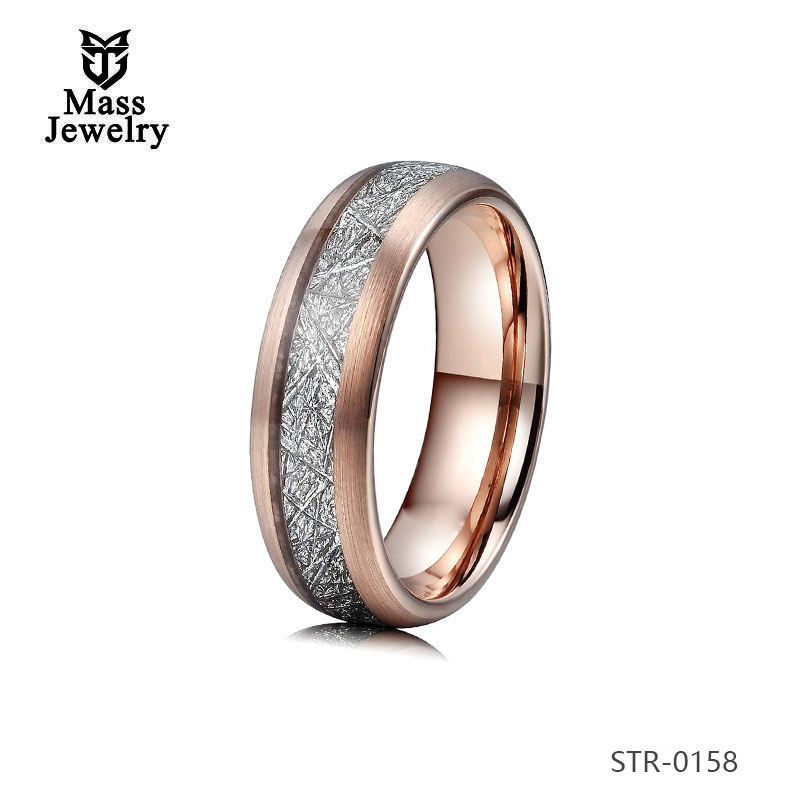 Stainless Steel  Imitation Meteorolite Ring Jewelry Wholesale Wood Inlay Fashion Ring