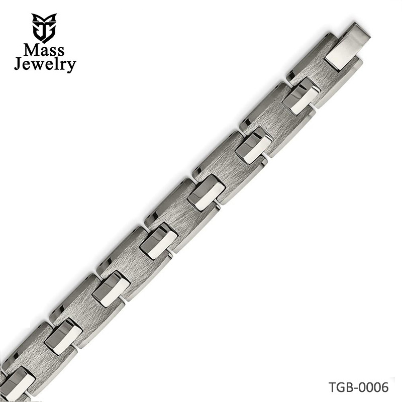 Tungsten Polished and Satin Bracelet 8.5in