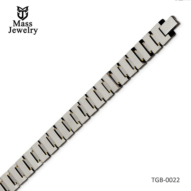 Tungsten Polished With Brass Accents Bracelet 8.5in