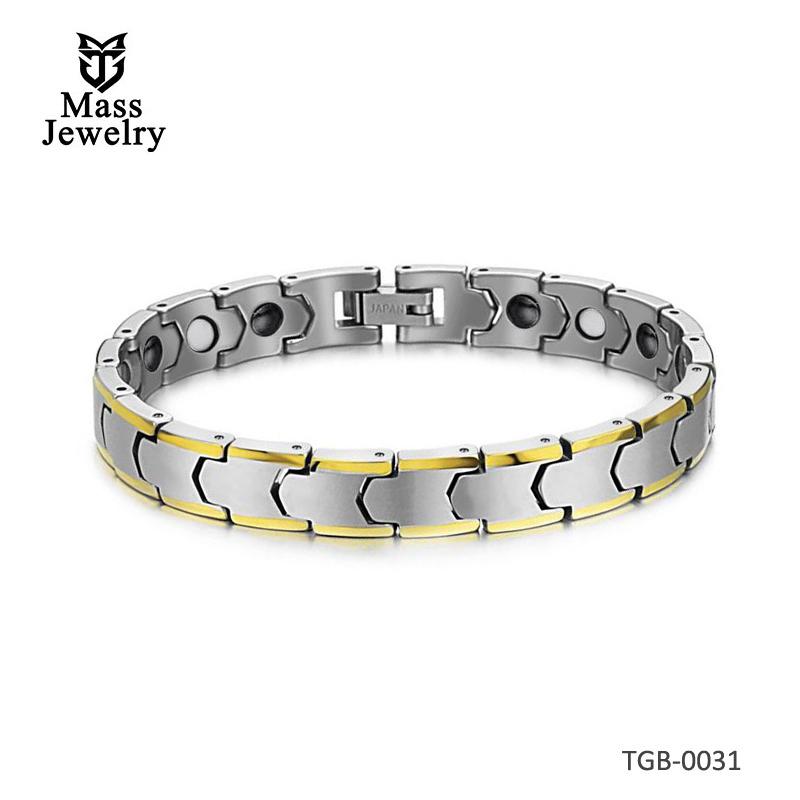 Solid Tungsten Bracelet with Gold Trim