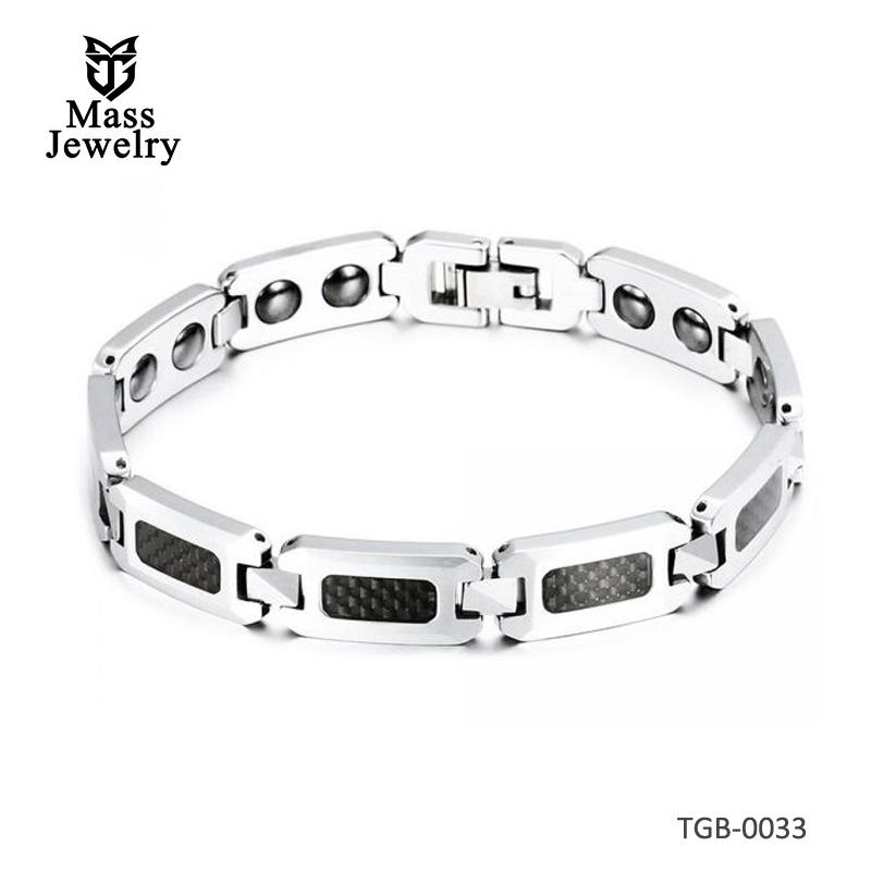 Men's Tungsten Carbide Magnetic Carbon Fiber Inlay Bracelet