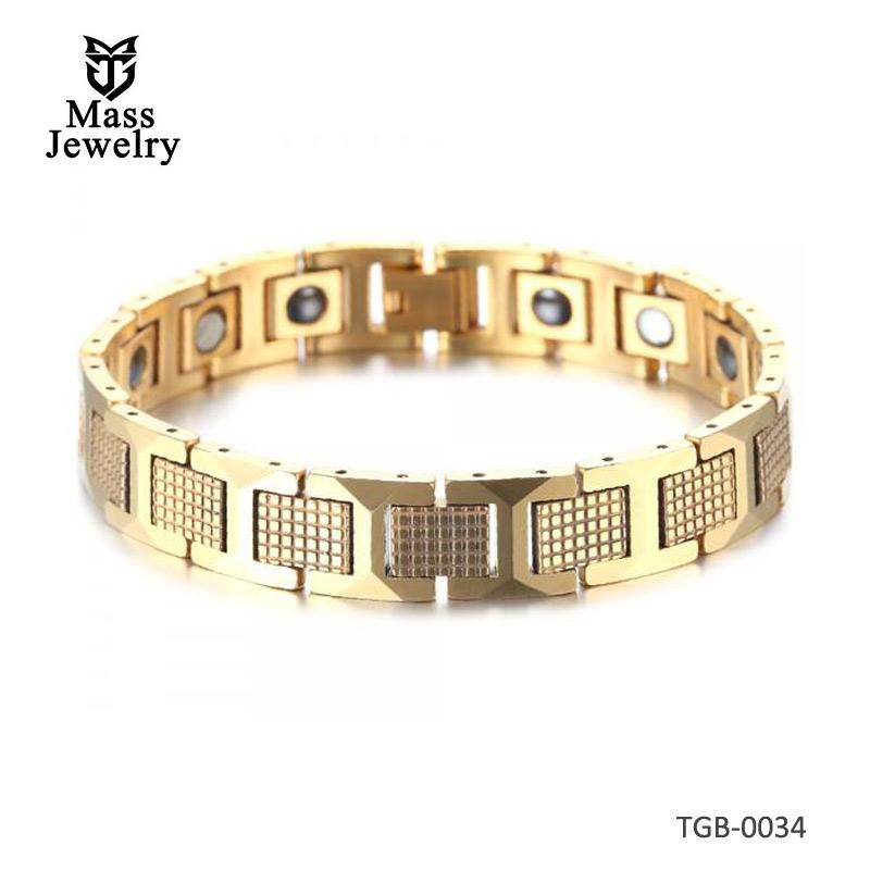 Men's Gold Plated Tungsten Carbide Magnetic Bracelet