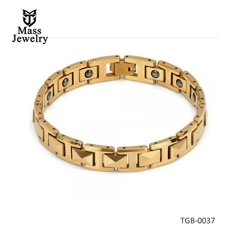 Men's Faceted Pyramid Links Gold Plated Tungsten Carbide Magnetic Bracelet