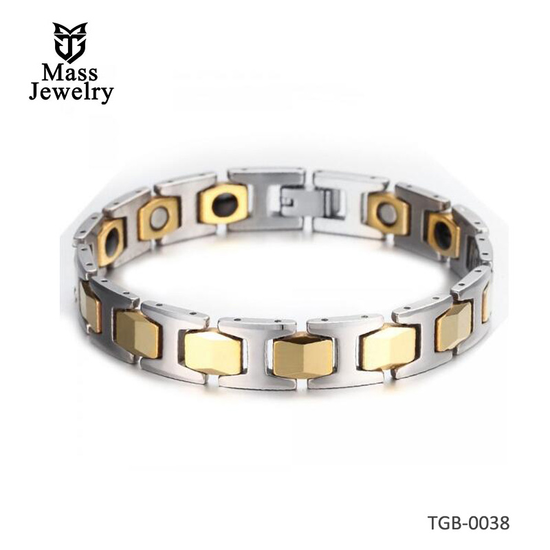 Men's 2tone Tungsten Carbide Link Hexagon Gold Plated Magnetic Bracelet