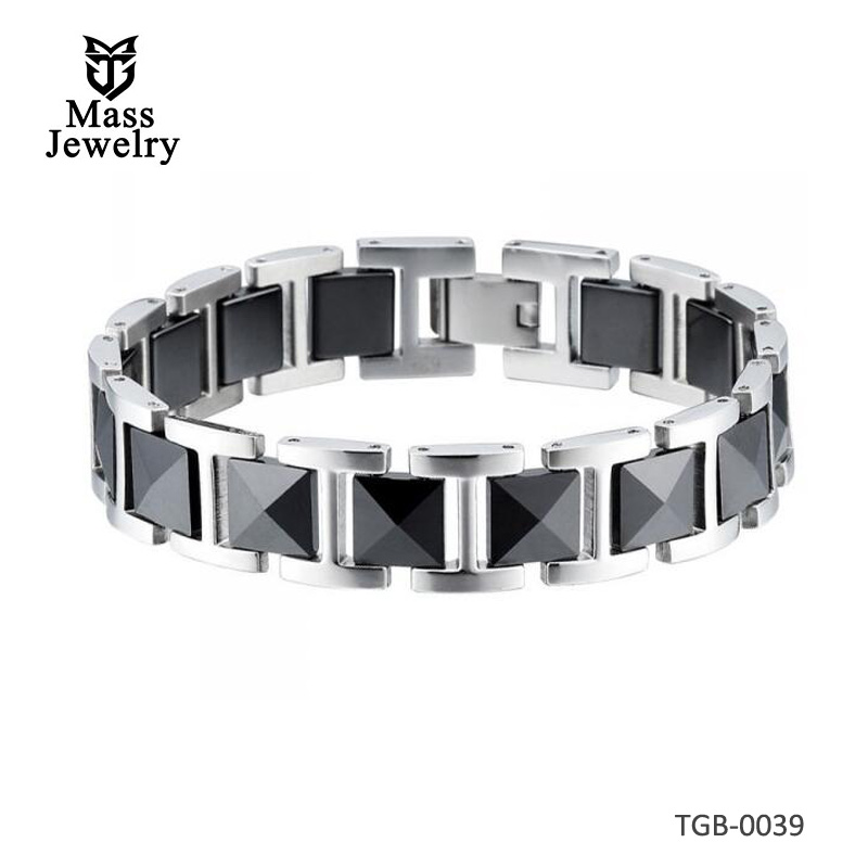 Men's Black Tungsten Carbide Magnetic Bracelet