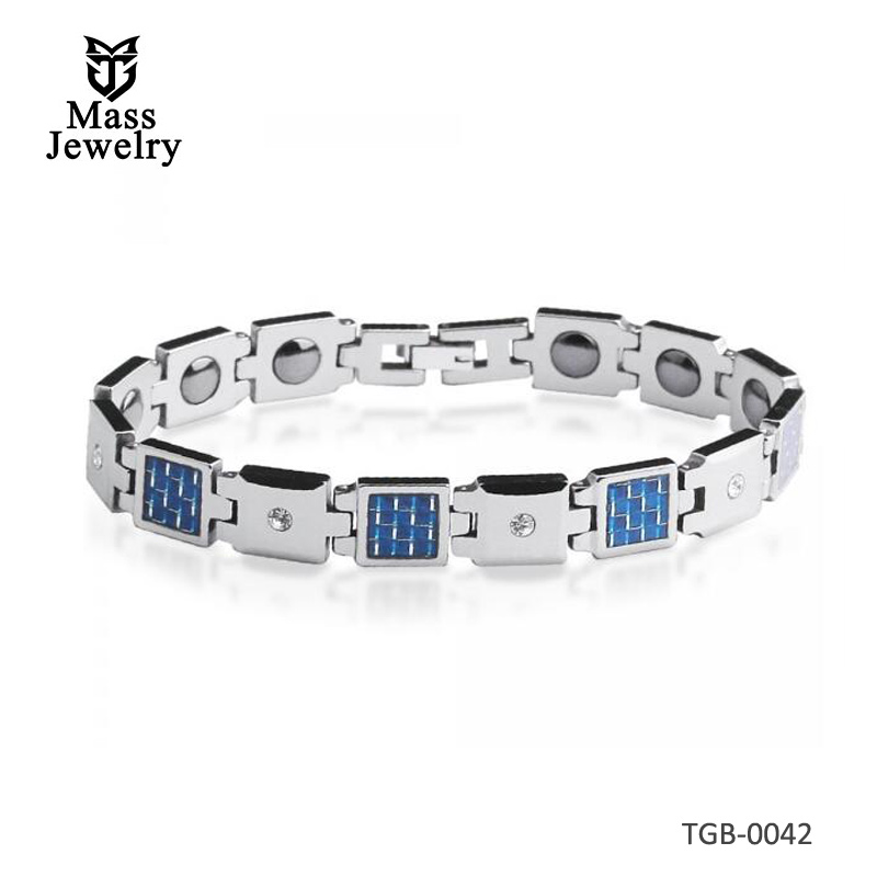 Men's Tungsten Carbide Magnetic Bracelet With Zirconia And Carbon Fiber Inlay