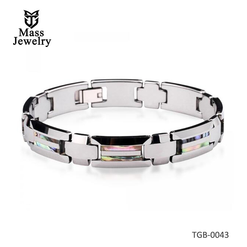 Men's Tungsten Carbide Bracelet With Shell Abalone Inlay