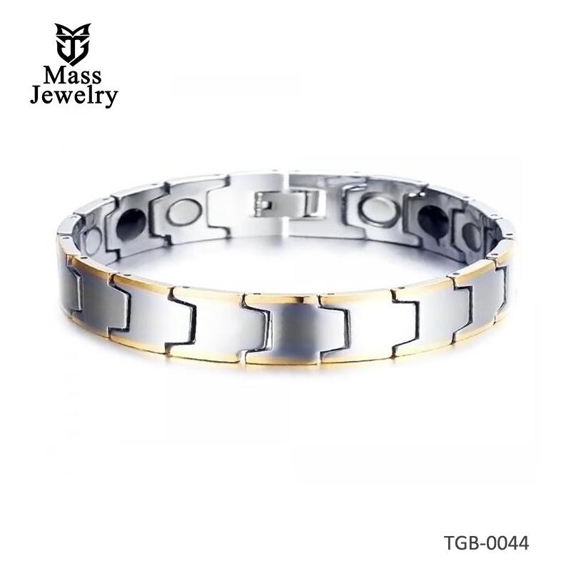 Men's Magnetic Polished Gold Plated Edge Tungsten Carbide Bracelet