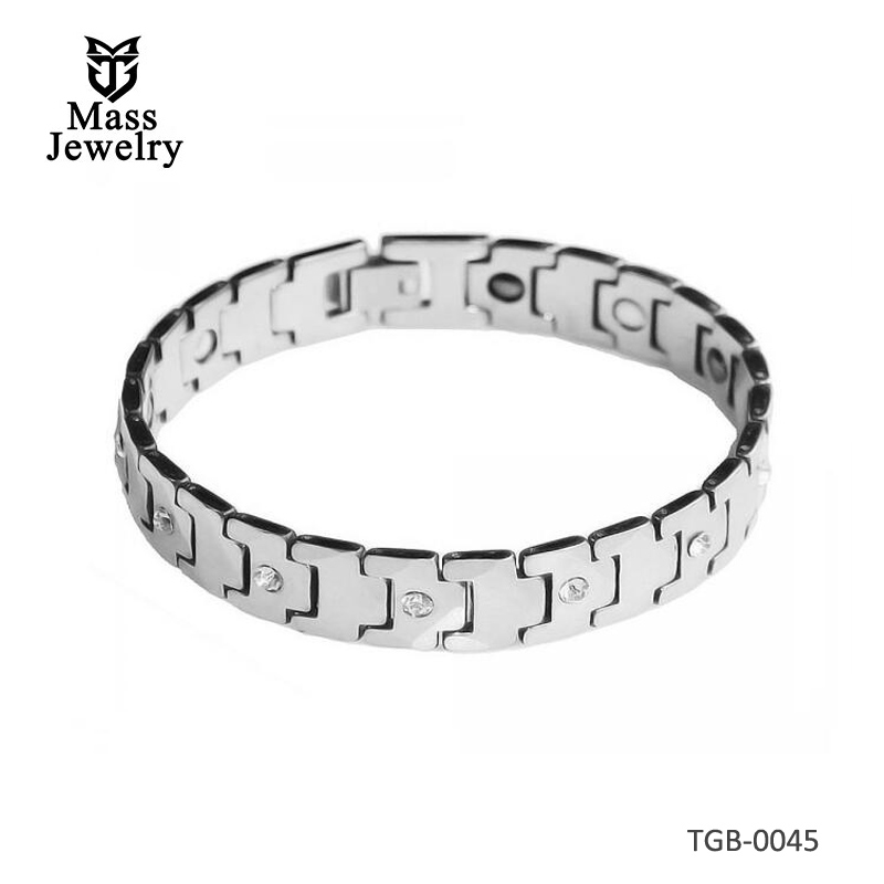 Men's High Polished Faceted Tungsten Cubic Zirconia Inlay Bracelet