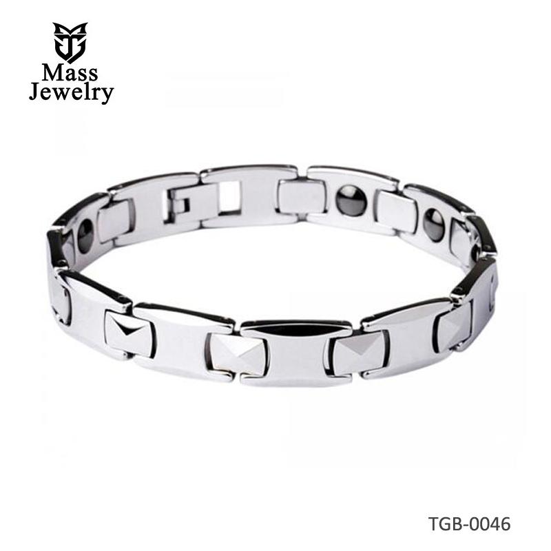 Men's Faceted Tungsten Carbide Magnetic Bracelet