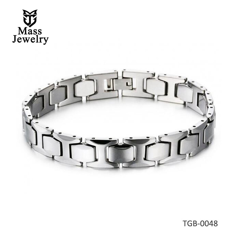 Men's Faceted Tungsten Carbide Magnetic Bracelet