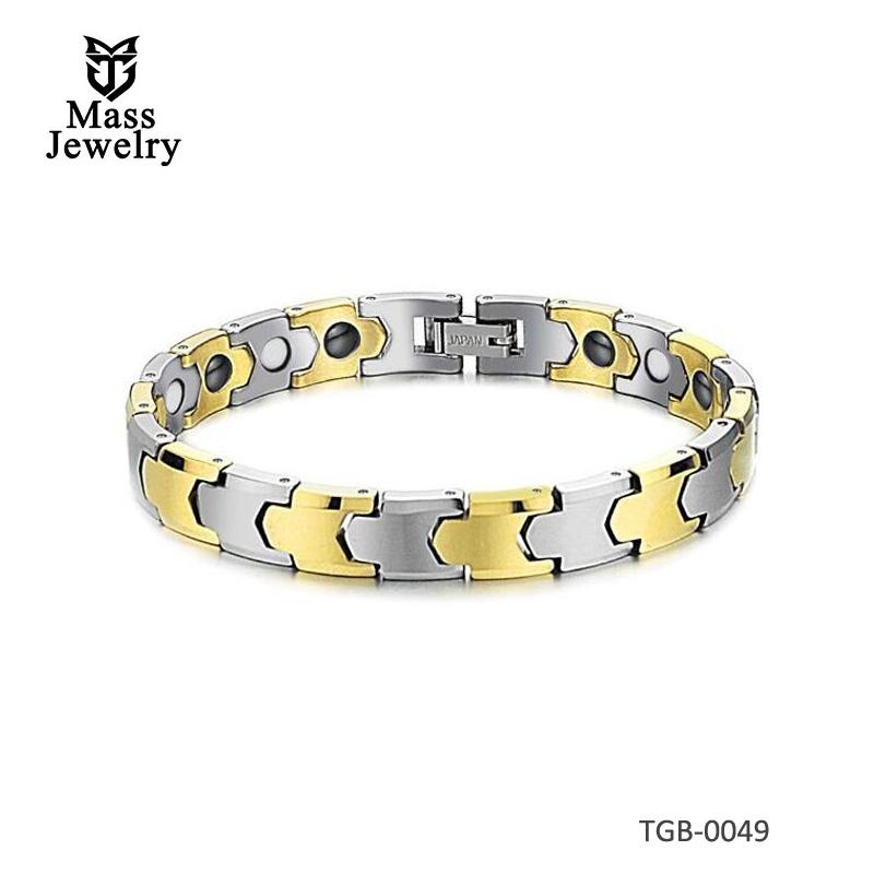 Men's 2tone Gold Plated Tungsten Magnetic Bracelet