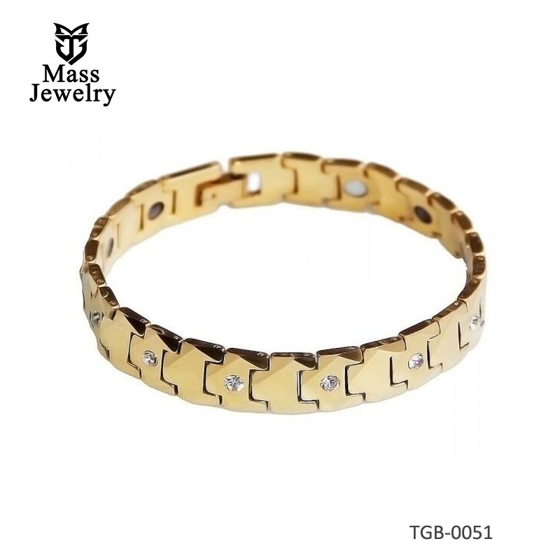 Men's Faceted Tungsten Carbide Magnetic Gold Plated Cubic Zirconia Inlay Bracelet