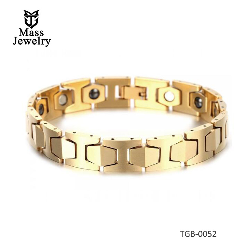 Men's Gold Plated Faceted Tungsten Carbide Hexagon Magnetic Bracelet