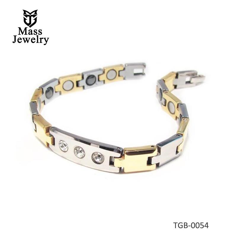 Men's 2tone Tungsten Magnetic Bracelet Cubic Zirconia Inlay
